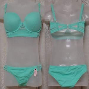 Victoria Secret blue swim set 36DD/Large